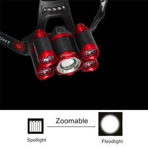 Image 5 - זום גבוה כוח פנס פנס T6 LED קדמי ראש אור מנורת 18650 נטענת פנס לציד ודיג