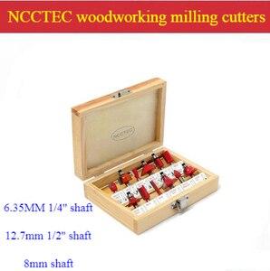 [12 шт набор фрезов] 6,35 мм 1/4 ''-12,7 мм 1/2''-8 мм вал хвоста деревообрабатывающие фрезы для древесины триммер роутера машина