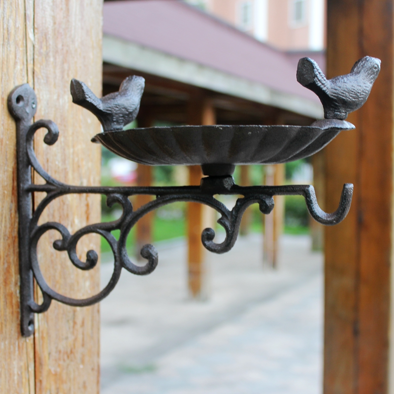 Wall Bracket Garden Bird Feeder Vintage Brown Cast Iron Decorative Bath Bird Water Feeder Outdoor Feeding Trough Accessories