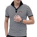Marca de moda de la Ropa de Los Hombres Camisa de Polo de La Raya Polo Homme Camisas de Algodón de la Aptitud Superior ZMF789521