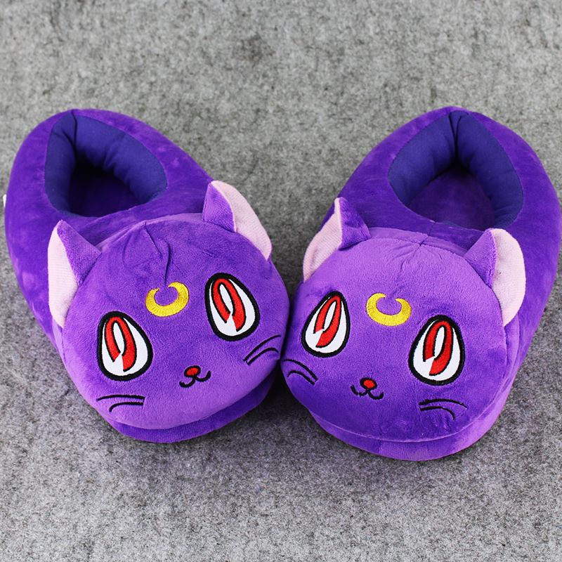 1 Pair 30cm Sailor Moon luna cat indoor Slippers Plush Shoes Warm Winter Adult Slipper Toy