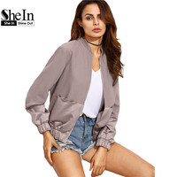 SheIn Womens Autumn Casual Short Jackets Ladies Color Block Pocket Zipper Front Stand Collar Long Sleeve