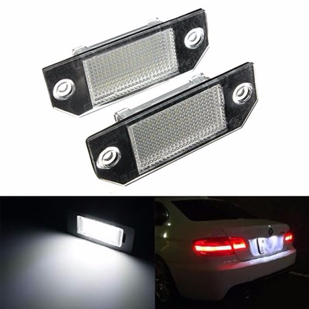 1 Pair 24 SMD LED License Number Plate Light Lamps For Ford Focus C-MAX 03-07 Real Lamp Bulbs Car Styling hopstyling 2x 18smd led number plate light for ford mustang 2010 flex taurus focus fusion mercury led license plate light bulb