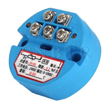 CNBTR Blue Plastic Metal DC24V 0-50 Degree Output PT100 Temperature Sensor Transmitter Pack of 20