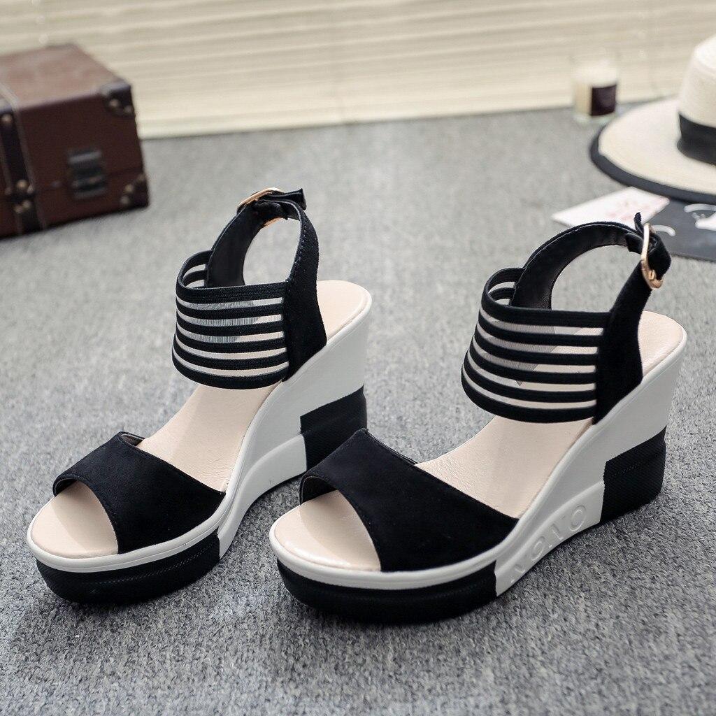 HTB1rZBuavjsK1Rjy1Xaq6zispXaI new fashion Wedge women Shoes Casual Belt Buckle High Heel Shoes Fish Mouth Sandals 2019 luxury sandal women buty damskie
