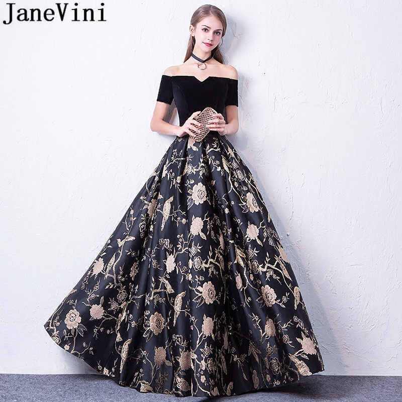 JaneVini Black Floral Flowers Long Party Dresses For Wedding Formal Gowns  Short Sleeve Gold Print Bridesmaid 3fa3bae1bdf3