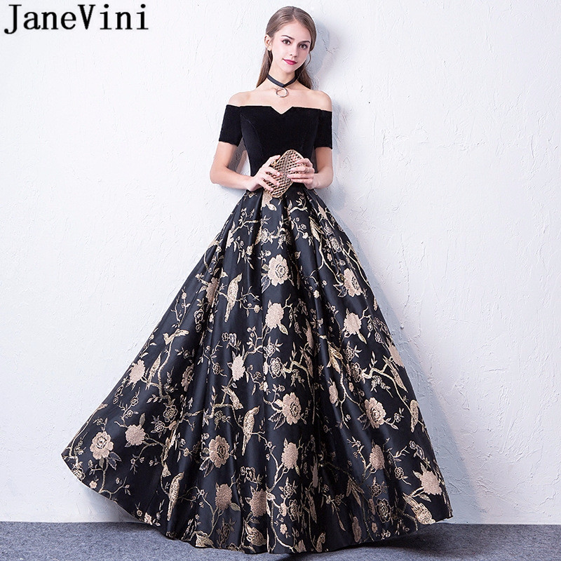 JaneVini Black Floral Flowers Long Party   Dresses   For Wedding Formal Gowns Short Sleeve Gold Print   Bridesmaid     Dresses   For Women