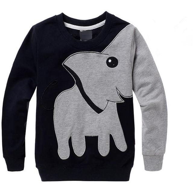 2016 Autumn New Cartoon Elephant Printed Long Sleeve Children Sweater Boy Girl Pullover Top Shirts Sweatshirt Clothing