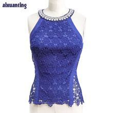 Women'S Chiffon Lace Sleeveless Shirt Diamond Beaded O-Neck Back Zipper Pink Fashion Summer Blue Lace Top Sexy Hollow Out Party