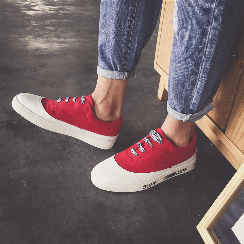 Summer Breathable mixed-color canvas mens youth shoes fashion printing height increasing trend youth student shoes
