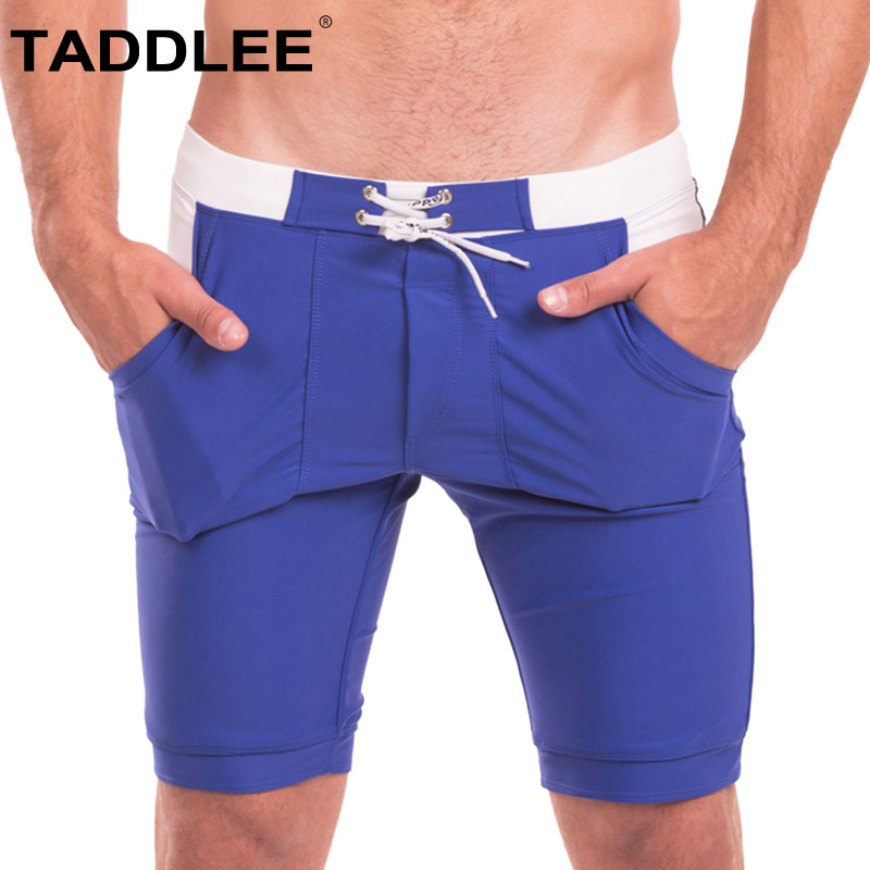 Taddlee Sexy Men's Swimwear Swimsuits Boxer Briefs Bikini Trunks Solid Basic Long   Board     Shorts   Pockets