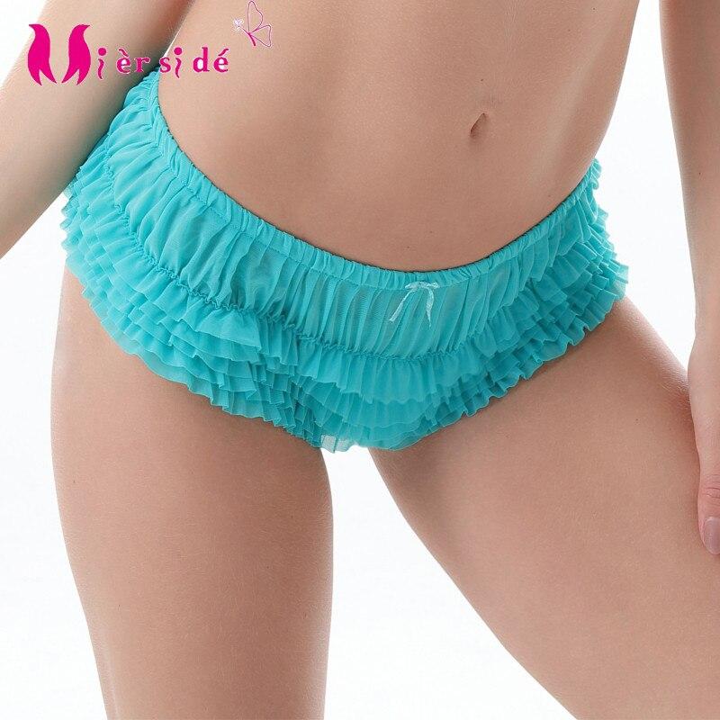 Mierside 2050 Hipster Chiffon Briefs Women Lace Ruffles   Panty   Sexy L/XL/2XL/3XL/4XL/5XL/6XL Underwear women white/blue/black