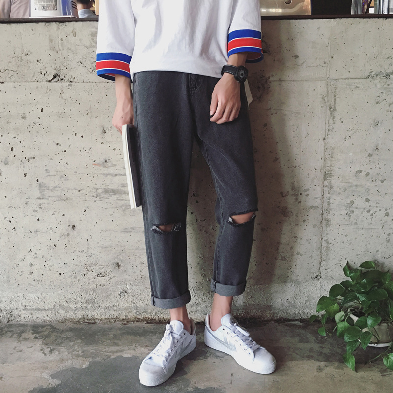 Fashion 2020 Spring Autumn Art Institute Restoring Vintga City Boy  Personality Knee Hole Loose Straight Jeans Grey Trousers