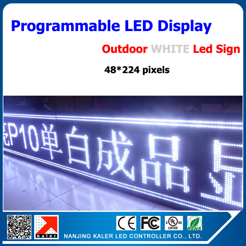 Outdoor DIP P10 Advertising Led Screen With Single White Color Programmable And Scrolling Message Led Display 56*232cm