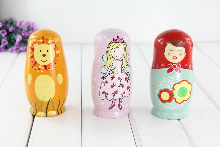 3 designs Russia dolls wooden toys/ cute wood matriarchy doll /princess /Animal/ little girl /big size puppet, free shipping