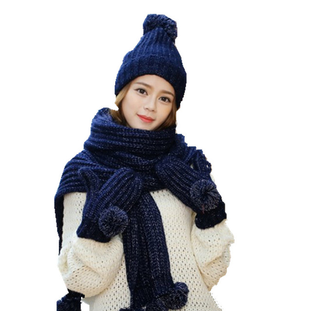 7a736450d0c new solid color knitted warm three pc sets gloves +long scarf +beanie ball  women
