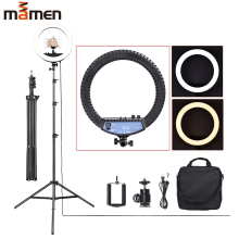 MAMEN 12 Inches Bi-color Ring Light Dimmable Lamp With Tripod Studio Video For Youtube Instagram Vlog Photography