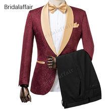 Чудесные Женихи, мужские смокинги, бордовый жаккардовый Блейзер, мужской костюм, набор для свадьбы, выпускного, Официальный мужской костюм, 2 предмета,(пиджак+ брюки