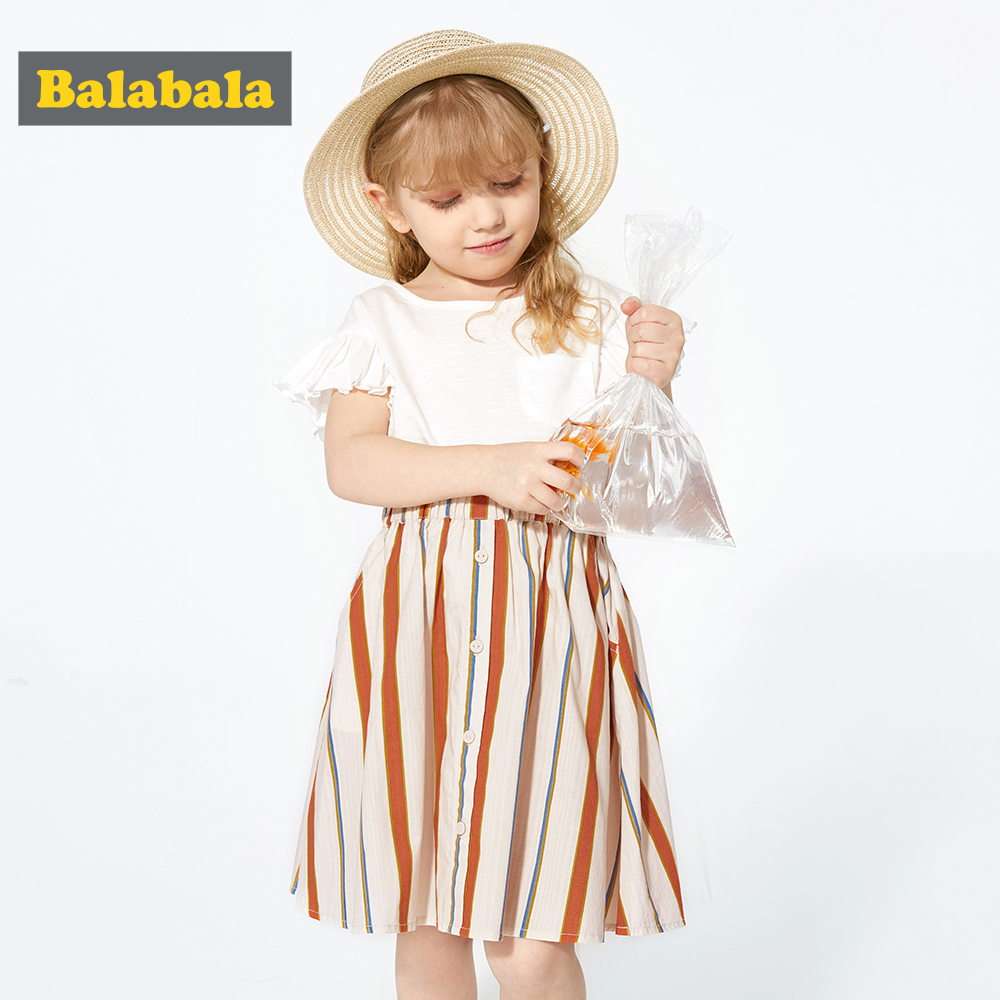 Balabala Girls Clothing 2019 Brand Summer Fashion Kids Clothing Sets Sleeveless White T-shirt+Skirt 2Pcs Girls Suit(China)