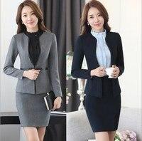 Women Blazer and Skirt Set Suit Black Blue Gray Mini Skirt Business Suit Female Work Office Skirt Suit for Women Plus Size 4XL