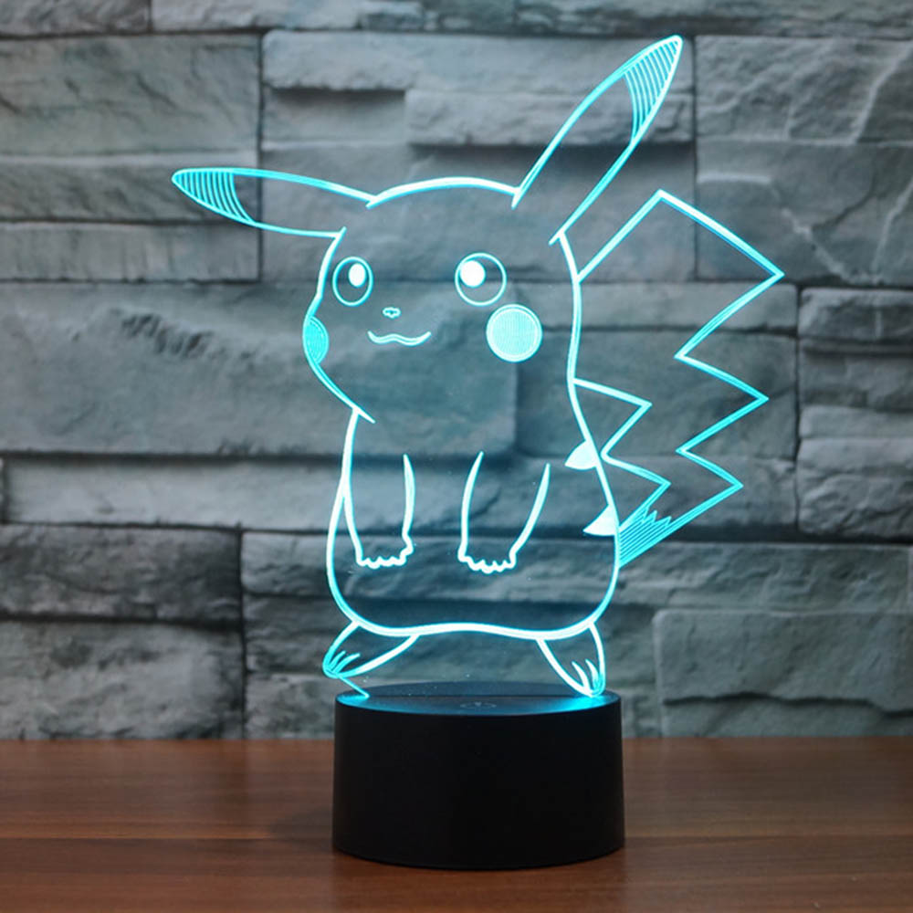 Pokemon Pikachu 3D Visual LED Night Light 7 Color Changing Touch Switch USB Charge RGB Lamps For Children Novelty Toys Lighting acrylic 7 color changing usb charge 3d