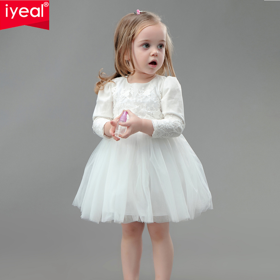IYEAL Baby Girls Wedding Party Dresses Christening Gown Infant Newborn Princess Birthday Long Sleeve Dress Kids Clothes For 0 2Y In From Mother