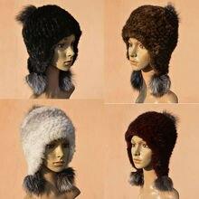 Норка меховая шапка реального фокс волос мяч Норка вязаная женщины зимняя мода hat Мода толстые зима теплая женщины hat