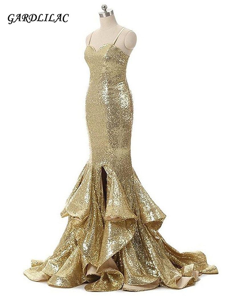 Sparkly sequin goud zeemeermin avondjurken spaghettibandjes lang prom - Jurken voor bijzondere gelegenheden