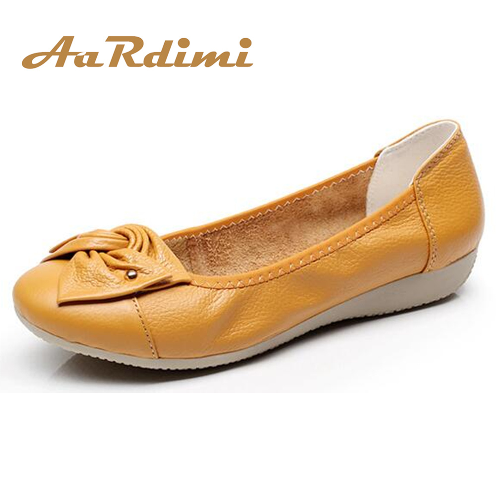 AARDIMI Plus Size 35-43 Genuine Leather Shoes Women Spring Loafers Flats Ballet Women Leisure Flat Shoes Solid Mother Shoes tangnest new embroider women flats casual flower printed ballet flats solid pu leather leisure shoes woman size 35 40 xwc1233