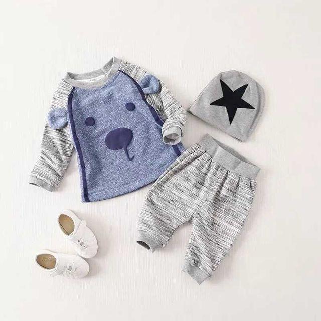 2016 Детская Одежда 3 шт. Новорожденного Младенца Мальчики Одежда Шляпа Футболка + Длинные Брюки Костюмы Наборы