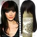 18 ''Длинные Шелковые 100% Человеческих натуральных волос парик для Женщин тонкая кожа парик система замены волос Toppers Парик Половина парики 85 г
