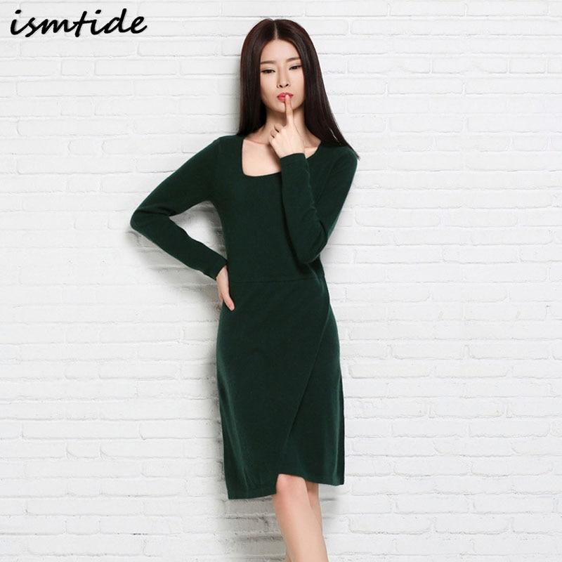 Ismtide Women Sweater Dress 2017 Long Sleeves New Fashion Elegant Knit Dresses Sexy Slim Party Bodycon Knee Sexy Sweaters Dress