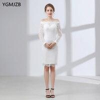 White Short Lace Wedding Dress 2018 Sheath Boat Neck Long Sleeve Knee Length Plus Size Wedding Gown Bridal Gown Vestido De Noiva