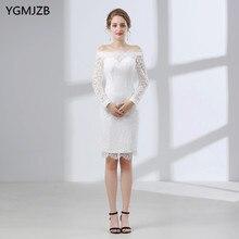 9505fec9a Blanco corto Encaje 2018 vaina barco Masajeadores de cuello manga larga  rodilla longitud más tamaño vestido de novia vestido de .