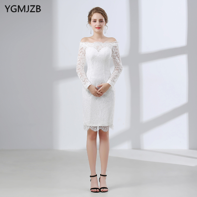White Short Lace Wedding Dress 2018 Sheath Boat Neck Long Sleeve ...