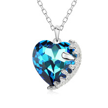 Luxury Sweet Heart Crystal Pendant Made with Swarovski Element Woman Rhinestone Pendants Necklaces Elegant Sexy Collier Jewelry(China)