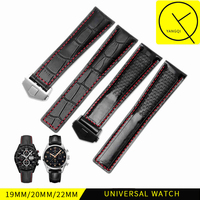 Calf Genuine Leather Bracelet For Heuer Watchband Folding Buckle Strap For Tag Carrera Calibre Watch Monaco