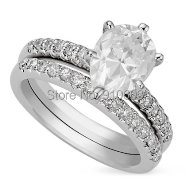 Center 1 Carat Pear Shape Lab Grown Diamond Ring With Micro Pave Set 9K White Gold Diamond Engagement Ring Diamond Wedding Set