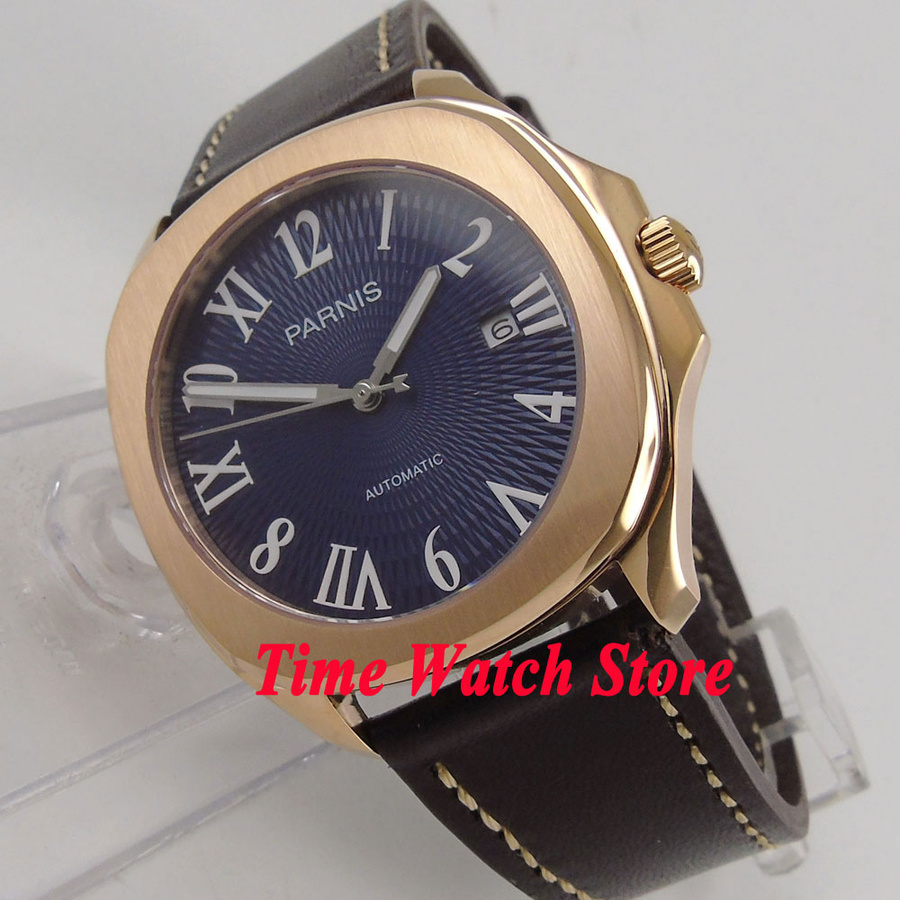 Parnis 40mm Rose gold square case blue dial luminous rubber strap 21 jewels MIYOTA Automatic movement Mens watch men 891Parnis 40mm Rose gold square case blue dial luminous rubber strap 21 jewels MIYOTA Automatic movement Mens watch men 891