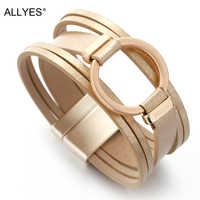 ALLYES Cercle Charme Bracelets En Cuir Pour Les Femmes 2019 Dames De Mode Large Wrap bracelet multicouches Femme Bijoux Amie Cadeau
