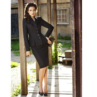 New women's black overalls formal suit pleated suit jacket and skirt office business jacket skirt suit custom