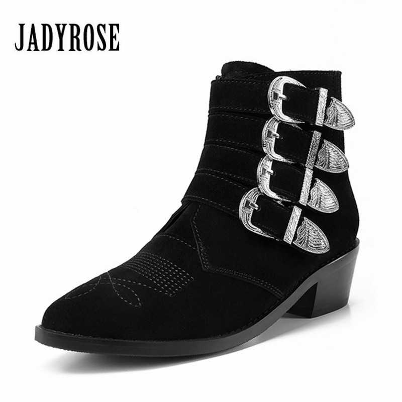 Jady Rose 2018 New Black Suede Women Ankle Boots Ladies Autumn Winter Thick Heel Rubber Boots Buckles Embroidered Martin Botas