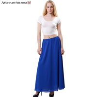 Bohemian Style Chiffon Maxi Skirt Women Summer Skirts Chiffon Fashion Candy Colors High Waist Pleated Skirts
