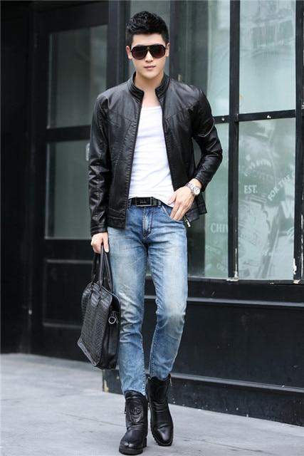 2015 New Brand Celebrity Men S Leather Jacket Vintage Fashion Female