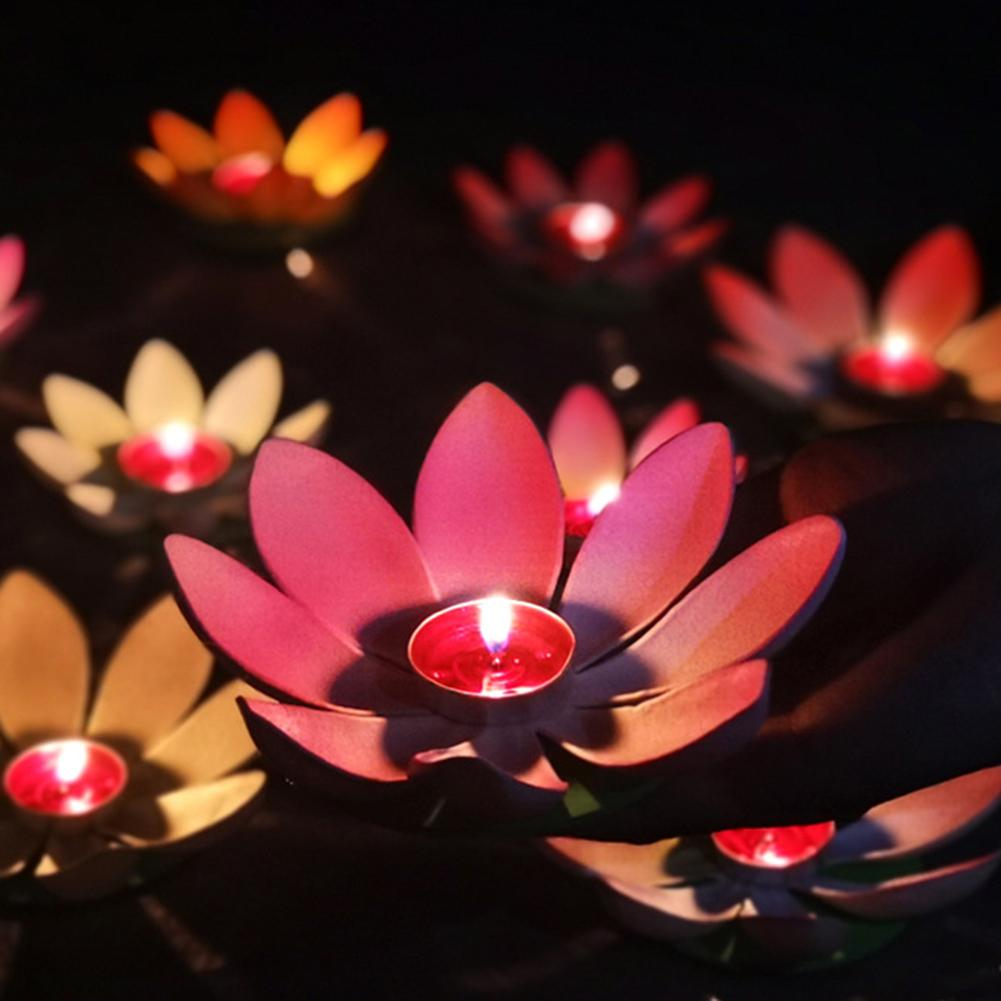 Lotus Flower lantern Floating Garden Pond River Candle Wishing Light Festival lampion home decoration accessories rysunek kolorowy motyle