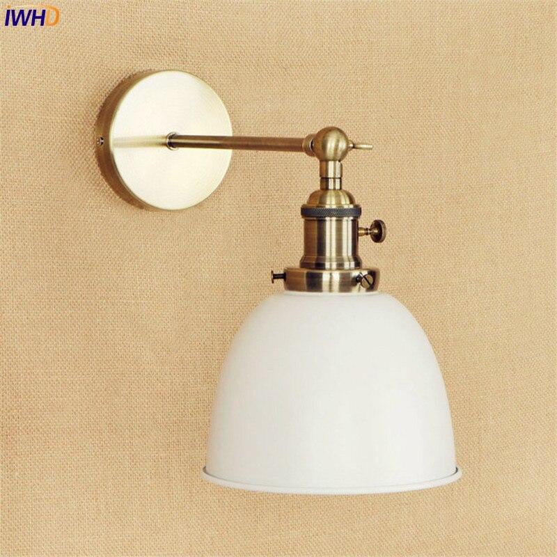 IWHD белый латунь ретро настенные светильники столовая 4 Вт светодио дный LED Edison лестницы свет промышленных Винтаж Arm настенный светильник ...