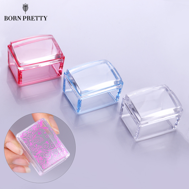Rectangle Jelly Silicone Nail Stamper with Scraper Red Blue Clear ...