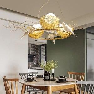Image 4 - Led ציפור קן מודרני זהב תקרת נברשת בציר מזרחי תעשייתי נורדי זוהר סלון תליון ציפורים אורות