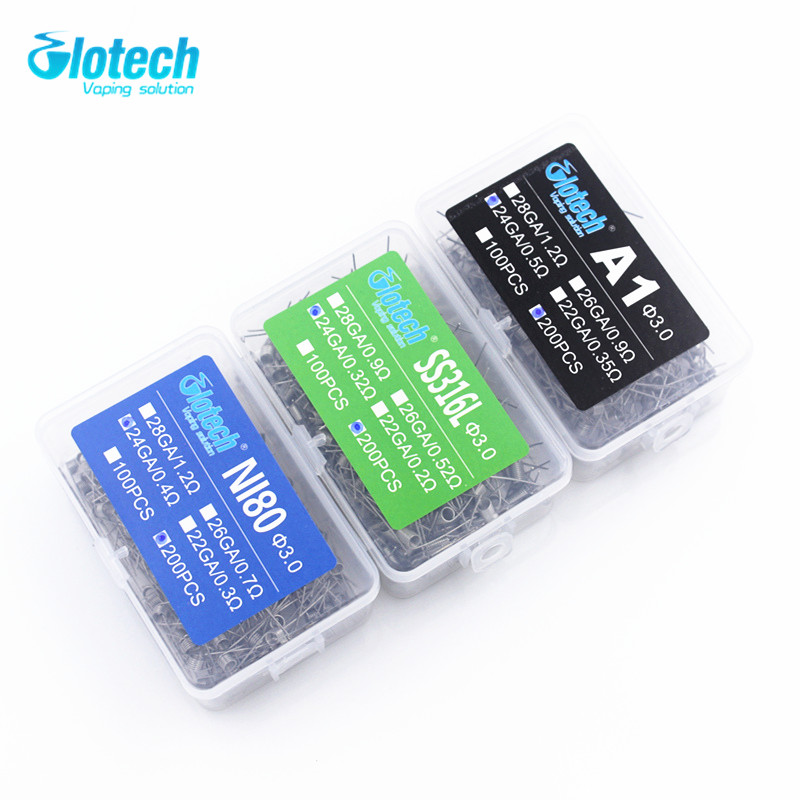 Glotech 200pcs electronic cigarette rda atomizer wick wire coil prebuilt coil A1 SS316L NI80 heating wire coiling premade coils