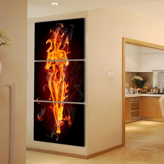 Painting A Hallway 3 piece abstract flaming nude model woman modern wall painting